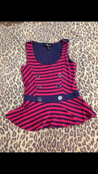 shirt blue & red stripes peplum top