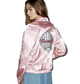 jacket bomber jacket pink satin mermaid shell