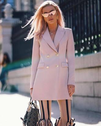 blazer pink blazer sunglasses metallic sunglasses handbag black handbag pants beige pants jacket bag