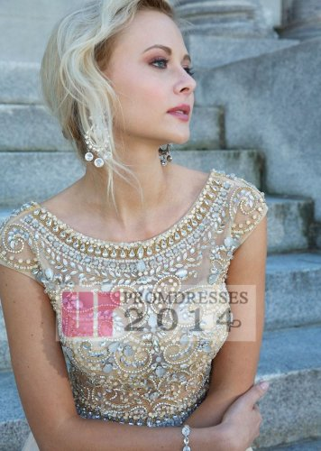 Rhinestone beaded scoop neck nude long prom gown [j