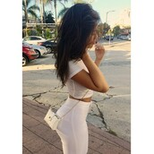 bag,white crop tops,all white everything,high waisted pants,jeans,t-shirt