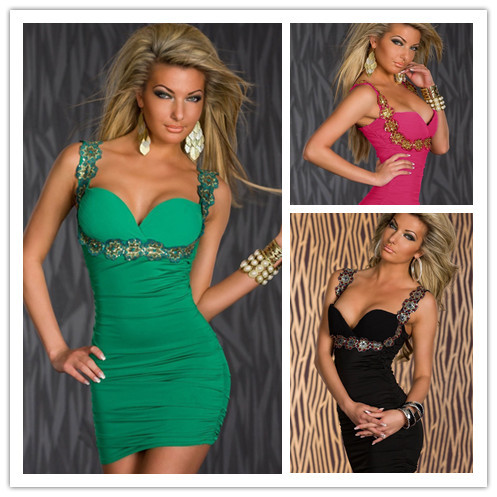 Free shipping   Lowest price New Sexy Captivating Flower Applique Stretch Bodycon Dress LC2908-in Dresses from Apparel & Accessories on Aliexpress.com