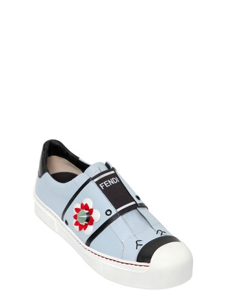 sneakers floral leather light blue light blue shoes