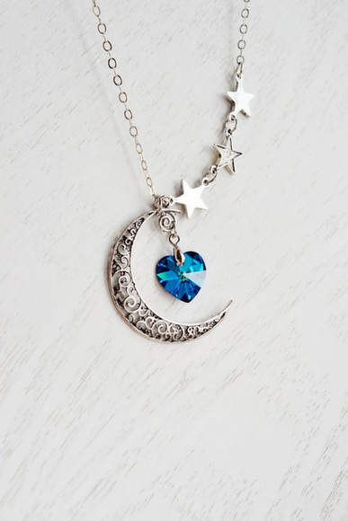 jewels silver necklace heart moon stars