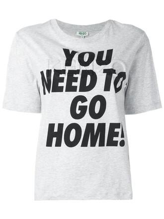 t-shirt shirt women cotton print grey top