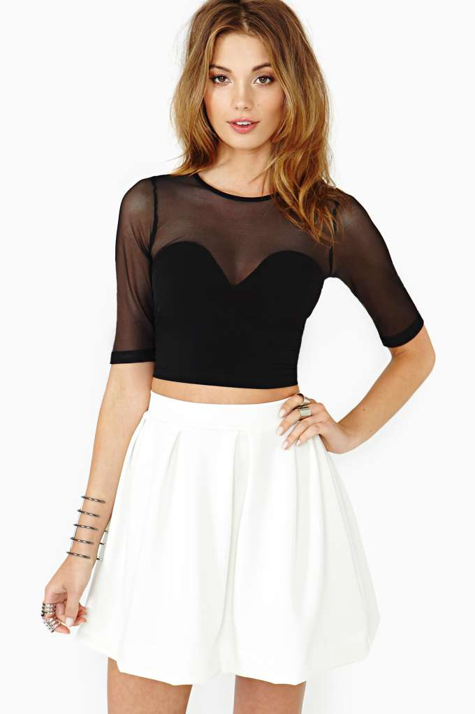 Hot Mesh Crop Top  in  Clothes at Nasty Gal
