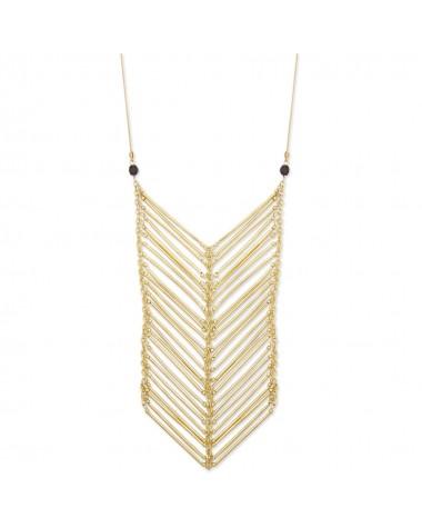 "Zad gold bar chevron bib long 26"" necklace long"