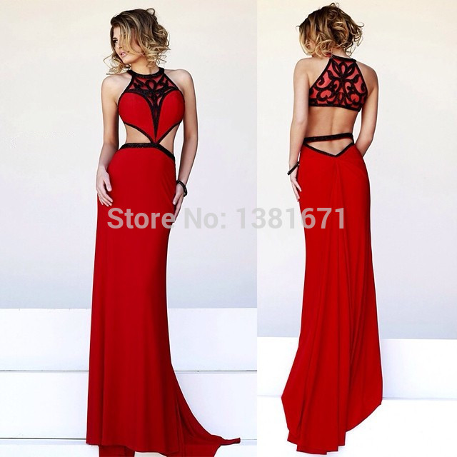 Aliexpress.com : Buy 2014 New Jersey Style Black And Red Pattern Sexy Keyhole Design Long Evening Dress from Reliable jersey knit dress suppliers on Aojia Top Evening Dress