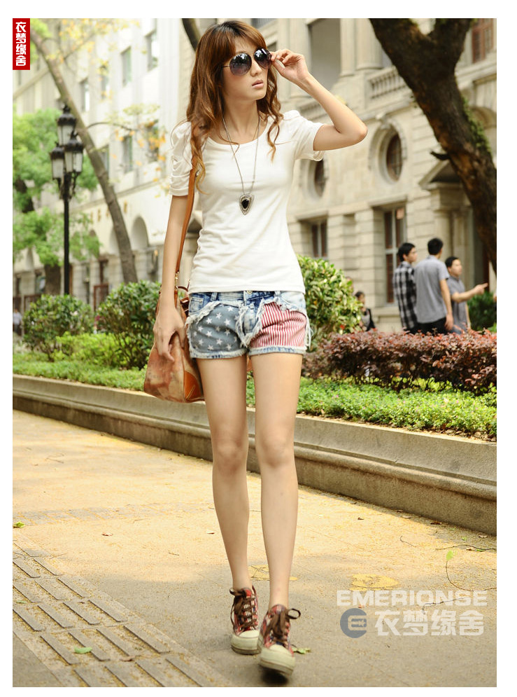 Free Shipping 2013 Summer New Arrival America Flag Fashion Patchwork Denim Shorts Jeans for Women-in Shorts from Apparel & Accessories on Aliexpress.com
