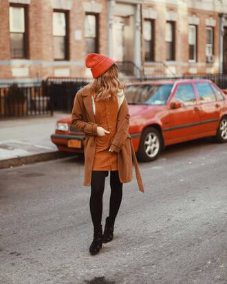 skirt corduroy rust tights boots black boots ankle boots coat brown coat beanie