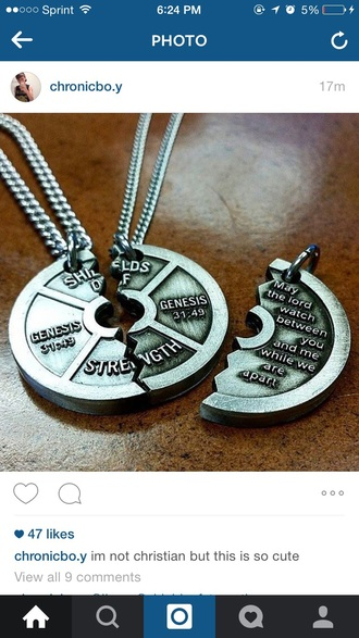 jewels christian necklace couples necklaces bible verse cute