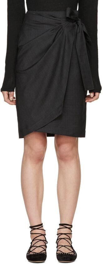 skirt wrap skirt grey
