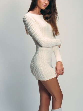 dress long sleeve sweater dress cable knit