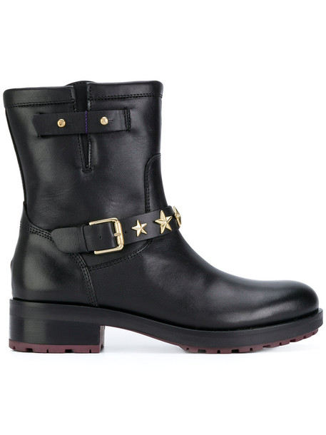women boots ankle boots leather cotton black shoes