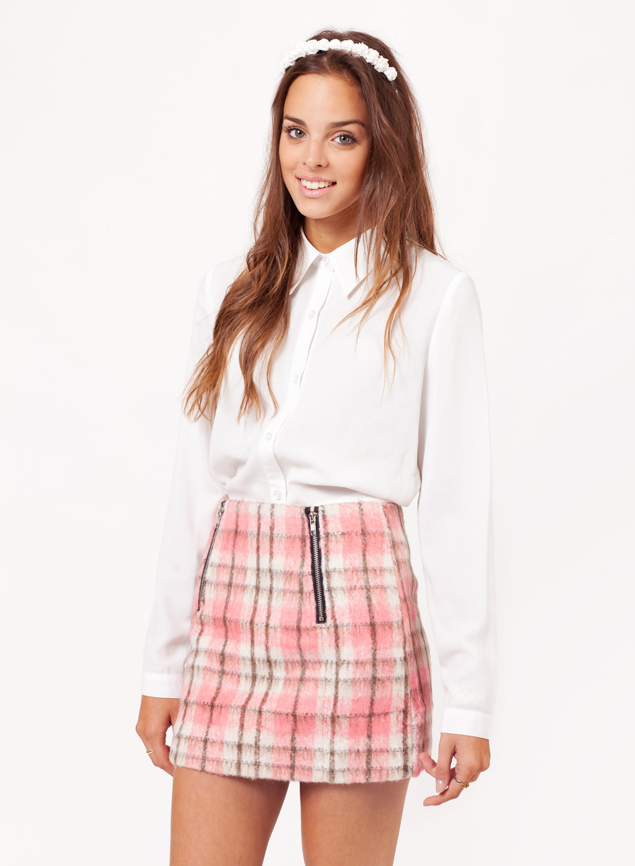 Pink and white tartan dress