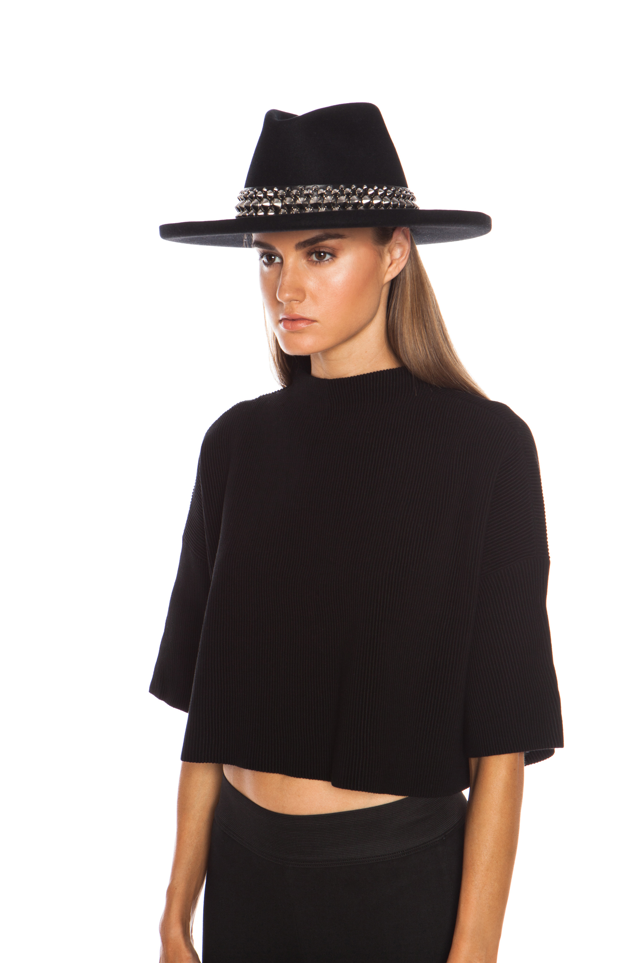 Gladys Tamez Millinery The Johnny Hat with Studded Band in Black in ... 073e42e0c6a