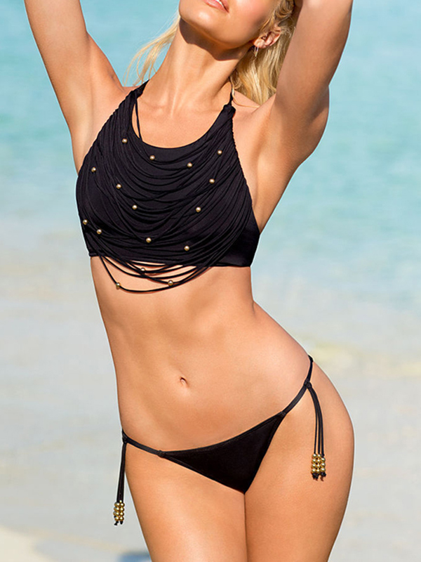 Tassel Elegant Low Waisted Halter Top Bikinis : KissChic.com