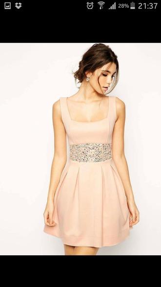 dress robe rose pale ceinture brillante courte ?l?gante