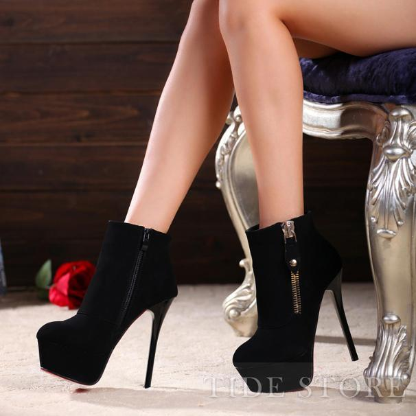 Sexy Black Platform Stiletto Heels Ankle Boots with Zipper: tidestore.com