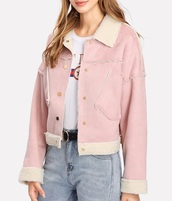 jacket,girly,pink,fur,fur jacket,button up
