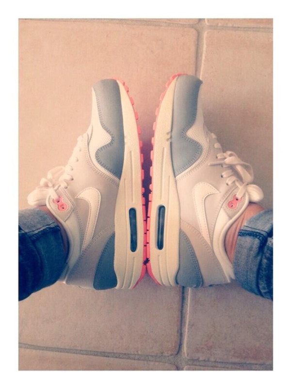 shoes white sneakers grey pink air max nike air trainers cute