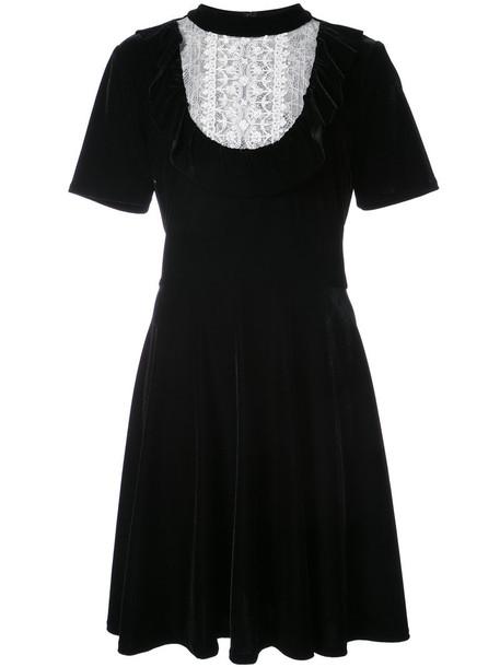 dress velvet dress ruffle women black velvet
