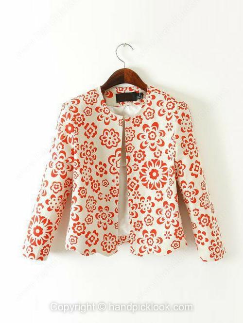 Red Long Sleeve Floral Print Blazer - HandpickLook.com