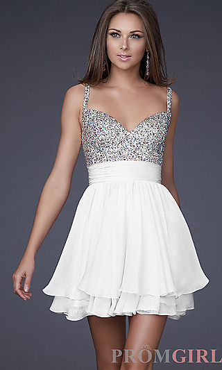 Prom Dresses, Celebrity Dresses, Sexy Evening Gowns at PromGirl: White Graduation Dress by La Femme