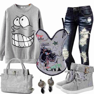 sweater jeans shoes bag top corset