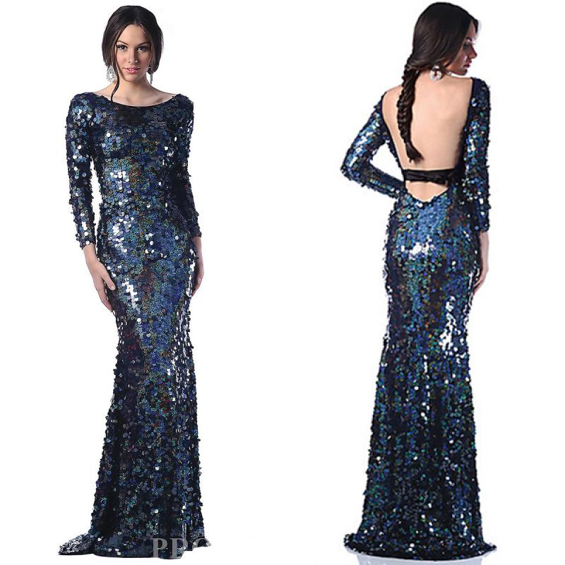 Gorgeous Mermaid Sequined Long Sleeve Floor Length Backless Prom Dress
