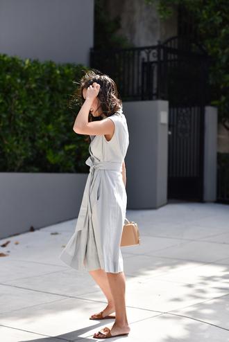 dress grey dress tumblr midi dress sleeveless sleeveless dress shoes mules