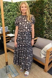 skirt,maxi,maxi skirt,top,gwyneth paltrow,celebrity,slide shoes