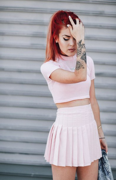 top all pink everything All pink outfit crop tops pink top skirt pleated skirt mini skirt pink skirt tattoo