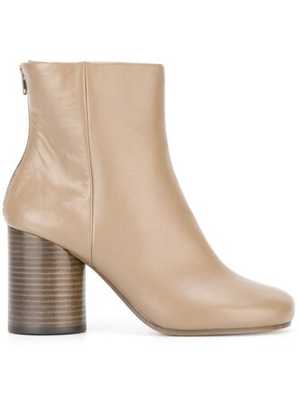 heel women boots ankle boots leather grey shoes