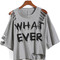 Grey round neck ripped what ever print t-shirt -shein(sheinside)