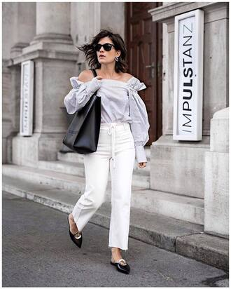 top tumblr off the shoulder off the shoulder top pants white pants shoes black shoes slide shoes mules bag black bag scarf