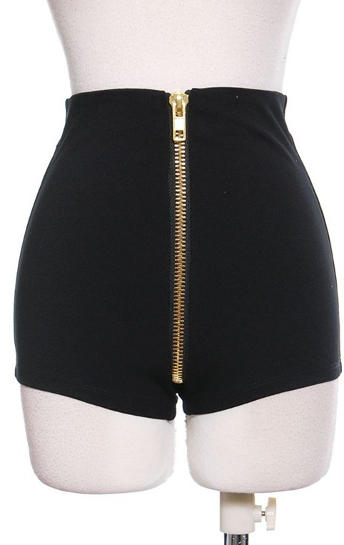 Black exposed zipper hot pants · trendyish · online store powered by storenvy