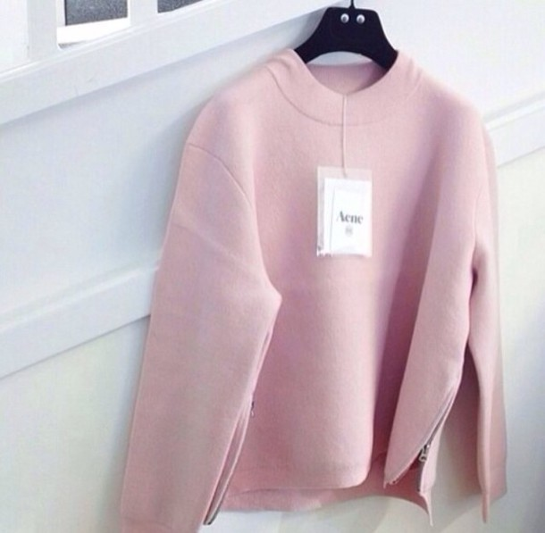 sweater pink pink sweater pastel pink fashion