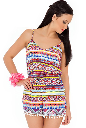 Bobble Trims Aztec Print Play Suit