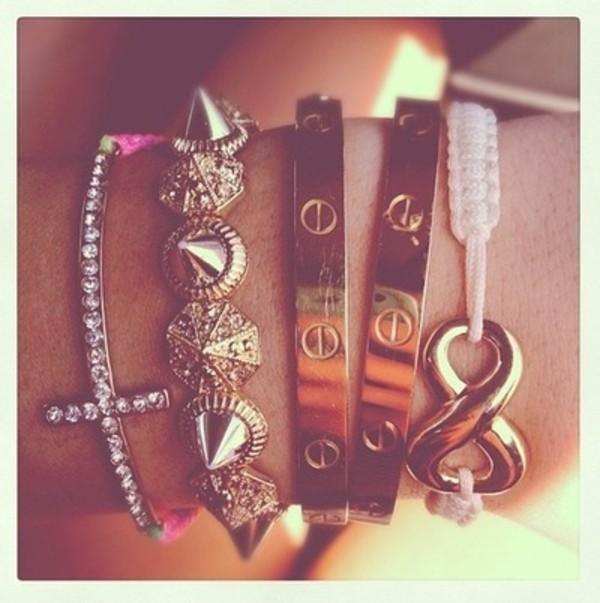 jewels spiked bracelet gold bracelet jewelry