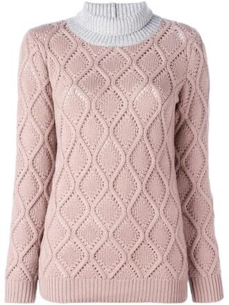 pullover turtleneck women purple pink sweater