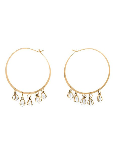 Melissa Joy Manning women earrings hoop earrings gold grey metallic jewels