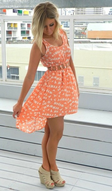 Dress: pattern, high low, summer dress, shoes, coral dress, beach ...