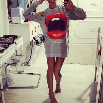 lips grey blouse sweatshirt dress sexy red sweater