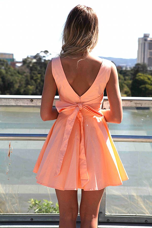 Orange Mini Dress - Peach Sleeveless Mini Dress with | UsTrendy