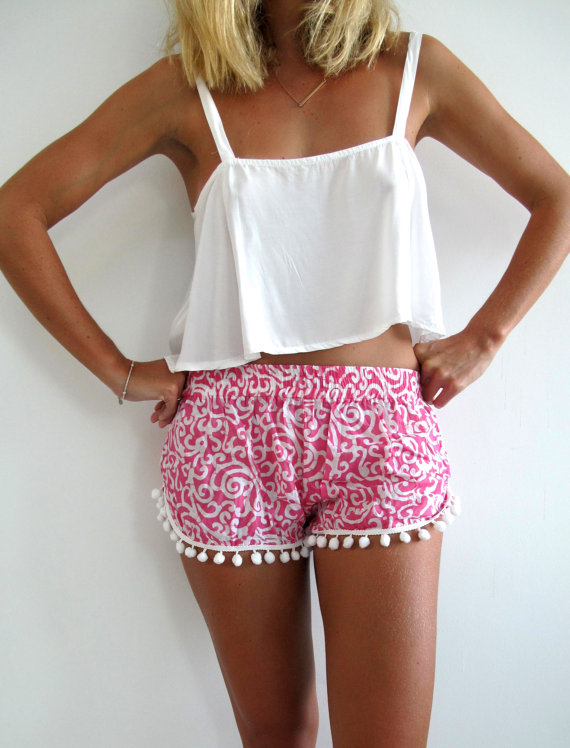 Pink Shorts - Pink and White Swirl Printed | UsTrendy