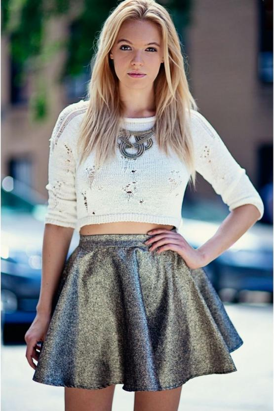 Party metallic skater skirt