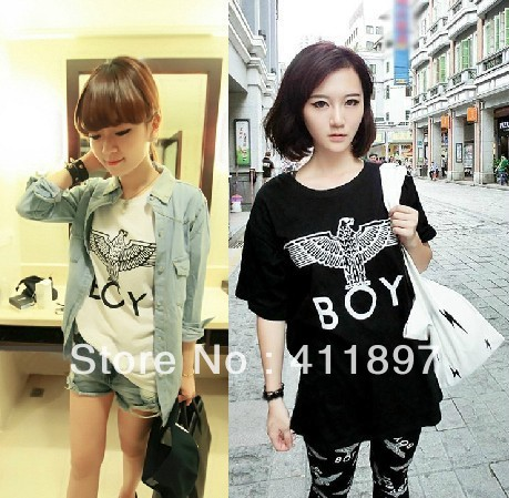 Free shipping o neck retro fashion cool punk boy london letter eagle short sleeve t shirt 2013 new