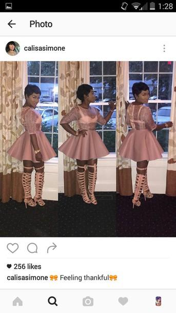 dress nude dress flare dress mesh top pinkish nude pink