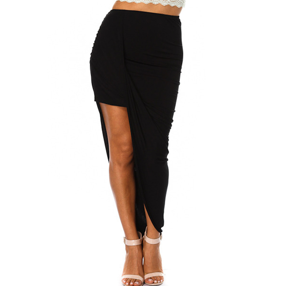 Black Asymmetrical Draped Lay Over Skirt | Emprada